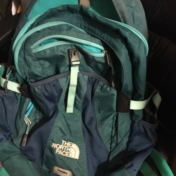 blue green recon north face backpack